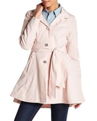 Betsey Johnson | Pink Tie Waist Fit & Flare Rain Coat | Lyst