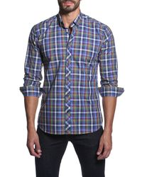 Jared Lang | Blue Long Sleeve Plaid Semi-fitted Shirt for Men | Lyst