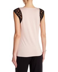 Laundry by Shelli Segal - Multicolor Lace Cap Sleeve Tee-shirt - Lyst