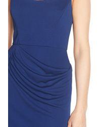 BCBGMAXAZRIA - Blue 'stelah' Draped Jersey Sheath Dress - Lyst