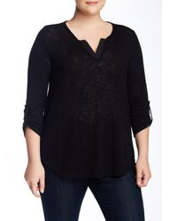 Gibson - Black Roll Tab 3/4 Length Sleeve Henley (plus Size) - Lyst