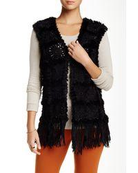 Love Token - Black Daisy Genuine Dyed Rabbit Fur Trim Vest - Lyst