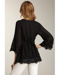 Love Token - Black Embroidered V-neck Tunic - Lyst