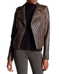 Levi's | Brown Genuine Leather Quilted Motorcycle Jacket | Lyst