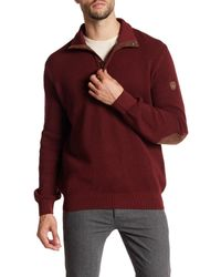 English Laundry | Red 1/4 Leather Pull Zip Faux Suede Elbow Patch Pullover for Men | Lyst