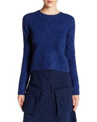 Marc By Marc Jacobs | Blue Merino Wool Blend Cropped Sweater | Lyst