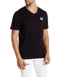 True Religion | Black Solid Logo V-neck Tee for Men | Lyst