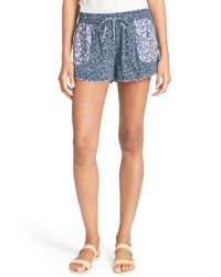Joie | Blue 'demario' Floral Print Shorts | Lyst