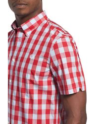 Fred Perry - Red Extra Trim Fit Short Sleeve Tartan Check Woven Shirt for Men - Lyst