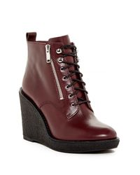 Marc By Marc Jacobs | Brown Kit Zip Lace Wedge Boot | Lyst
