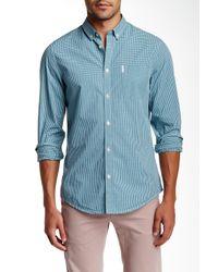Ben Sherman | Blue Long Sleeve Regular Fit Micro Gingham Shirt for Men | Lyst