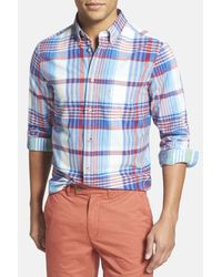 Ben Sherman | Blue Summer Check Slim Fit Long Sleeve Shirt for Men | Lyst