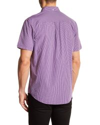 Ben Sherman - Purple Mini-check Short Sleeve Slim Fit Shirt for Men - Lyst