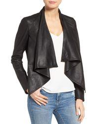 Lamarque | Black 'madison' Drape Front Suede Jacket | Lyst