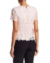 Catherine Malandrino - Pink Crochet Crew Neck Short Sleeve Shirt - Lyst