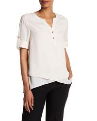 Catherine Malandrino | White 3/4 Length Sleeve Roll Up Blouse | Lyst