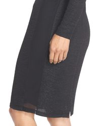 Marc New York - Black Metallic Knit Sheath Dress - Lyst