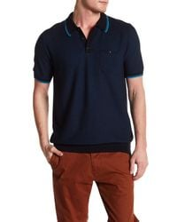 Ben Sherman | Blue Micro Jacquard Textured Polo for Men | Lyst