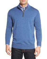 Peter Millar | Blue Leather Trim Quarter Zip Pullover Sweater for Men | Lyst