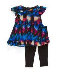Nicole Miller - Black Ruffled Chiffon Tunic & Leggings (baby Girls) - Lyst