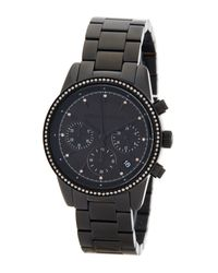 MICHAEL Michael Kors | Black Women's Ritz Crystal Accented Chronograph Bracelet Watch | Lyst