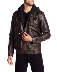 Members Only | Brown Faux Leather L-train Jacket for Men | Lyst