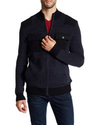 Kenneth Cole - Blue Marled Knit Zip Bomber for Men - Lyst