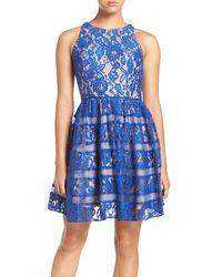 Aidan By Aidan Mattox | Blue Lace Fit & Flare Dress | Lyst