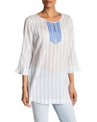 NYDJ | White Embroidered Tunic | Lyst