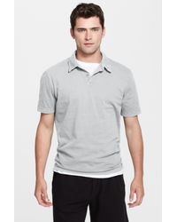 James Perse | Gray Jersey Short Sleeve Polo Shirt for Men | Lyst