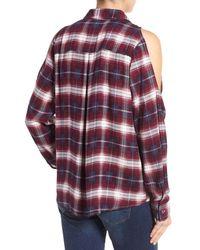 Bobeau - Multicolor Cold Shoulder Plaid Shirt - Lyst