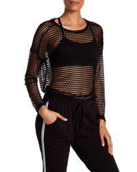 Bobeau - Black Open Knit Sweatshirt - Lyst