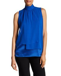 Lafayette 148 New York | Blue Mock Neck Silk Tank | Lyst