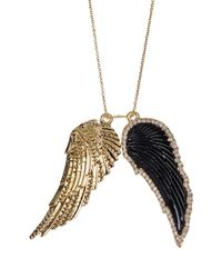 House of Harlow 1960 - Double Embellished Black-hued Angel Wing Chain Necklace - Lyst