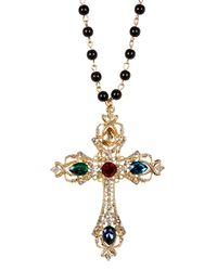 Cara | Metallic Rhinestone Embellished Cross Beaded Necklace | Lyst