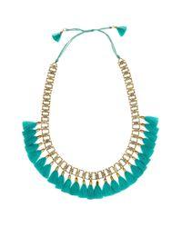 Jardin - Metallic Turquoise Silk Tassel Slide Necklace - Lyst