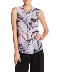 Laundry by Shelli Segal | Pink Sleeveless Pleated Front Print Blouse | Lyst