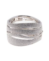 Nadri - Metallic Wide Wave Pave Hinged Bangle - Lyst