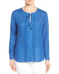 Nordstrom Collection | Blue Tie Neck Linen Blouse | Lyst