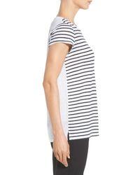 Nordstrom Collection - Black Cap Sleeve Stripe Linen Tee - Lyst