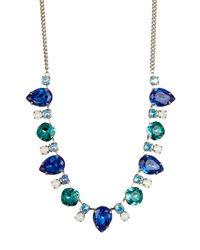 Sorrelli - Blue Multi-cut Swarovski Crystal Station Bib Necklace - Lyst