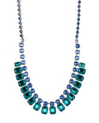 Sorrelli - Blue Two-tone Swarovski Crystal Layered Bib Necklace - Lyst