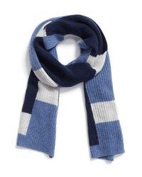 Halogen   Blue Colorblock Knit Cashmere Scarf   Lyst