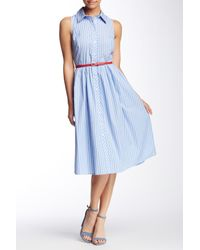 Eliza J | Blue Sleeveless Stripe Shirt Dress | Lyst