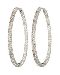 Nadri | White Large In Out Bombey Crystal Oval Hoop Earrings | Lyst