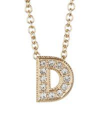 "Nadri - Metallic Pave ""d"" Initial Pendant Necklace - Lyst"