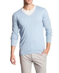 Autumn Cashmere - Blue Rolled Trim V-neck Shirt for Men - Lyst