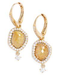 Nadri - Metallic 18k Gold Plated Sterling Silver Boho Gold Rutilated Quartz & Cz Drop Earrings - Lyst