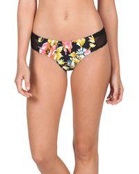 Volcom | Black Wild Buds Floral Print Cheeky Bikini Bottom | Lyst
