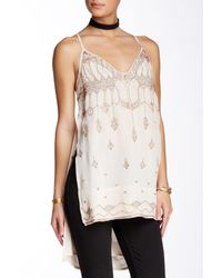Free People | White Dancin' In The Moonlight V-neck Beaded Tank | Lyst